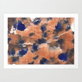 Peach Blue colorful watercolor design Art Print
