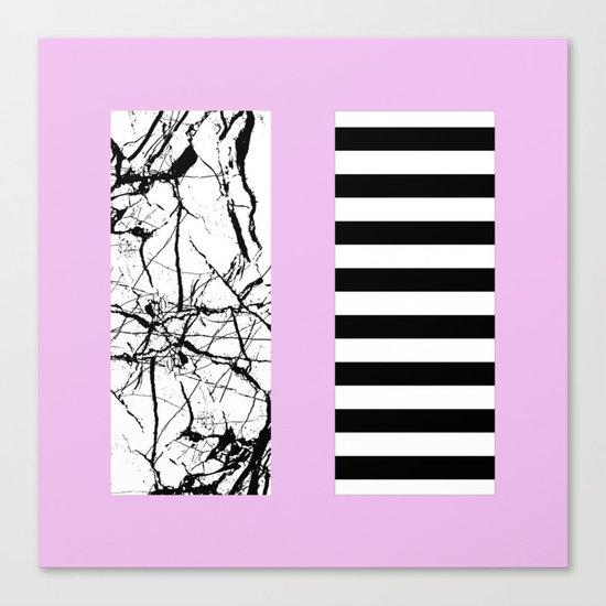 Stripes N Marble 2 - Black and white stripes and marble patterns on a pastel pink background Canvas Print