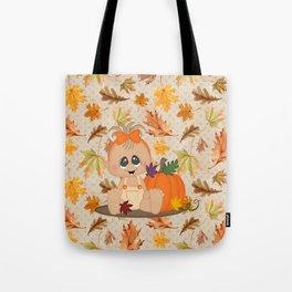 Fall Pumpkin Girl Tote Bag