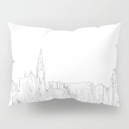 Galway, Ireland Skyline B&W - Thin Line Pillow Sham