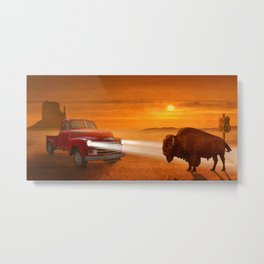 Meeting in the sunset on Route 66 Metal Print