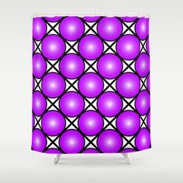 Neon Magenta Pink Dots Black White Pattern Shower Curtain