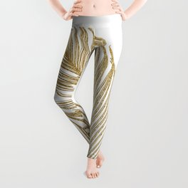 Palm Leaves Finesse Line Art with Gold Foil #2 #minimal #decor #art #society6 Leggings