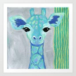 Giraffe Painting, Baby Giraffe, Blue Giraffe, Child's Room Decor, Gray Green Blue Art Art Print