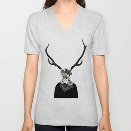 Man with a deer face Unisex V-Neck