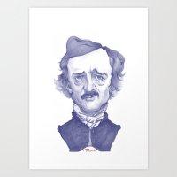 edgar allan poe Art Prints featuring Edgar Allan Poe illustration by Stavros Damos