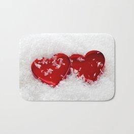 Love Hearts in Snow Bath Mat