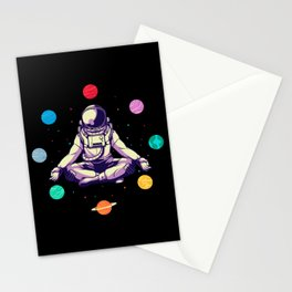 Retro Yoga Astronaut Meditates In Space Stationery Cards