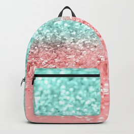 Summer Vibes Glitter #1 #coral #mint #shiny #decor #art #society6 Backpack