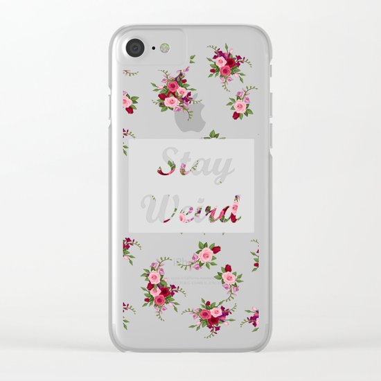 stay weird -grey Clear iPhone Case
