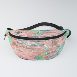 Pittsburgh Pennsylvania Illustrated Map with Main Roads Landmarks and Highlights Fanny Pack
