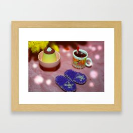 Cake, Slippers and Hot Chocolate Framed Art Print