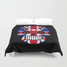Sugar Skull with Roses and the Union Jack Flag Duvet Cover