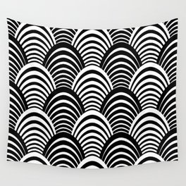 Black and White Art Deco Pattern Wall Tapestry