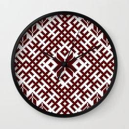 Latvian Traditional Folk Belt Design Pattern Wall Clock