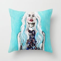Fleur bleu Throw Pillow