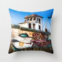 An Wooden old Ship 2 Throw Pillow