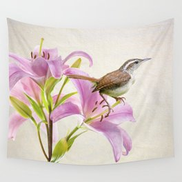 Carolina Wren and Lilies Wall Tapestry