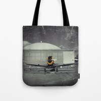 mustang Tote Bags featuring Mustang by Jorgenson Art Syndicate