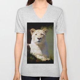 Noble Beast - Rare White Lion Unisex V-Neck