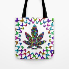 Butterflies Cannabis Leaf 2 Tote Bag