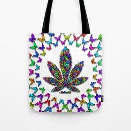 Butterflies Cannabis Leaf 2 Tote Bag