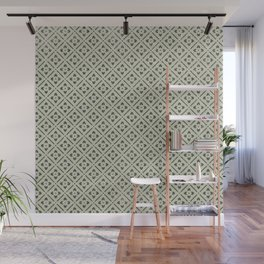Vintage chic green black geometrical floral pattern Wall Mural