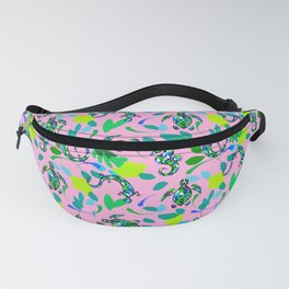 Seahorse, turtles,lizard pattern on a pink background  Fanny Pack