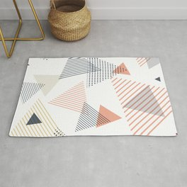 Abstract Modern Blue, Orange, Yellow Triangles Pattern Rug