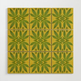 Marijuana Leaf Pattern Wood Wall Art