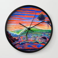 psychadelic Wall Clocks featuring  Surf Art Psychadelic  by Surf Art Gabriel Picillo