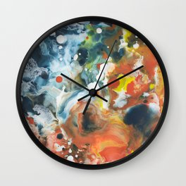 Color Commentary #13: Gone Snorkeling (Prussian Blue & Orange) [Lise Bjerregaard Nielsen] Wall Clock