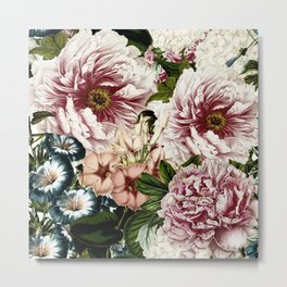 Vintage Peony and Ipomea Pattern - Smelling Dreams Metal Print