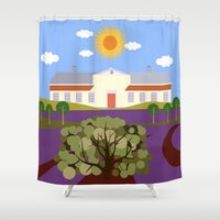 haunted mansion Shower Curtains featuring Mansion by Design4u Studio