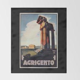 Vintage 1920s Agrigento Italian travel ad Throw Blanket