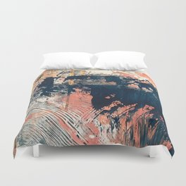 Hidden Gem [1]: an abstract mixed media piece in pink, blue, gold and white Duvet Cover