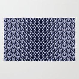 Japanese Yukata Jinbei Bishamon Navy pattern Rug