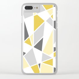 Geometric Pattern in yellow and gray Clear iPhone Case