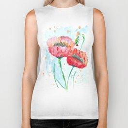 Poppy flowers no 4 Summer illustration watercolor painting Biker Tank