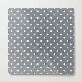 Smoke Grey with White Polka Dots Metal Print
