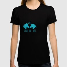 Ride or Die x Unicorns x Turquoise Womens Fitted Tee Black MEDIUM