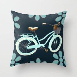 My Bike Floral Throw Pillow