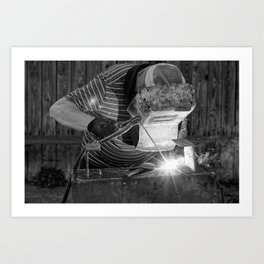 Welder working Art Print