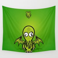cthulhu Wall Tapestries featuring Dumb Cthulhu by Victor Santaella Kruk
