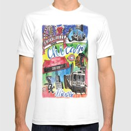 Chicago Watercolor Collage T-shirt