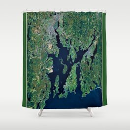 Map of Rhode Island - Ocean State - Narragansett Bay Shower Curtain