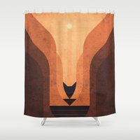 titan Shower Curtains featuring Titan - Lakes of Titan by Fabled Creative