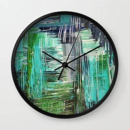 AQUATIC COMMOTION in Color - Textural Ocean Beach Nautical Abstract Acrylic Painting Wow Winter Xmas Wall Clock