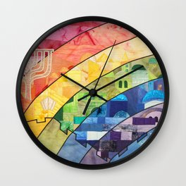Rainbow over Jerusalem (2) Wall Clock