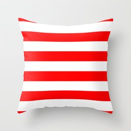 Australian Flag Red and White Wide Horizontal Cabana Tent Stripe Throw Pillow